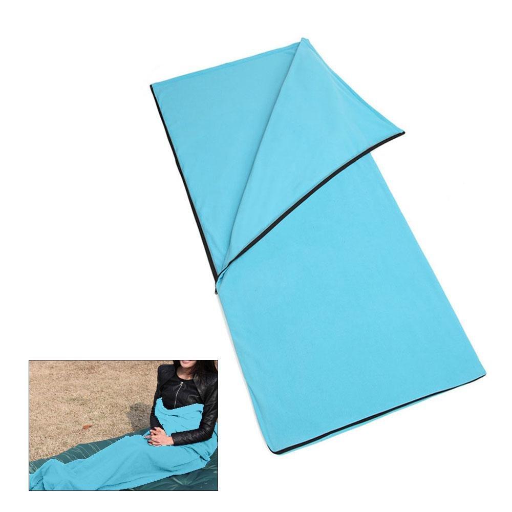 Fleece Sleeping Bag, Leegoal Warm and Cozy Microfiber Fleece Zippered Sleeping Bag Liner for Adults and Kids Outdoor Camping Hiking Traveling (Sky Blue)