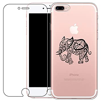 Funda iPhone 7 Plus, iPhone 8Plus Cover [con Protector de Pantalla de Vidrio Temperado] Blossom01 Ultra Fina de Gel de Silicona TPU Carcasa iPhone 7 ...