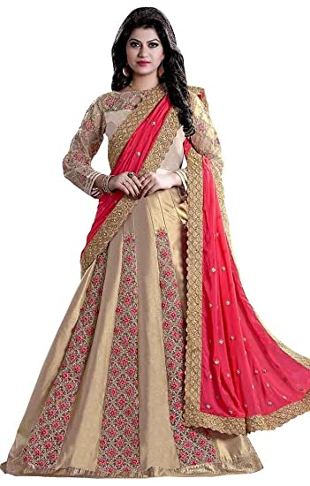 9ede98a6be INMONARCH Beige Silk and Net Lehenga Style Saree SSR320A: INMONARCH:  Amazon.co.uk: Clothing