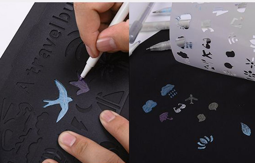 Journal Stencils, Coxeer 30PCS Planner Stencils Creative Plastic DIY Drawing Template Journal Stencil for Notebook (30 PCS)