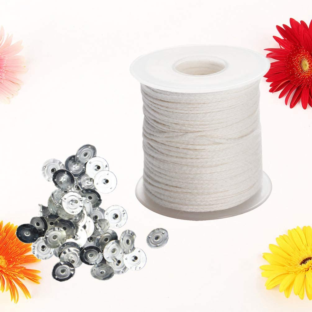 HEALLILY Cotton Braided Wick with Wick Tabs Candle Making Material DIY Crafts