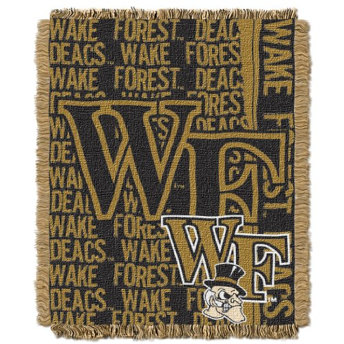 (The Northwest Company Officially Licensed NCAA Wake Forest Demon Deacons Double Play Jacquard Throw Blanket, 48