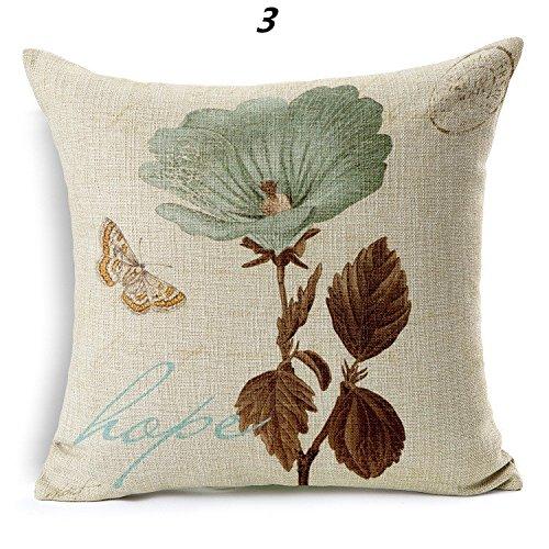 GAAK Hand-painted vintage style floral pattern Cotton Linen Car Cushion Sofa Pillow -
