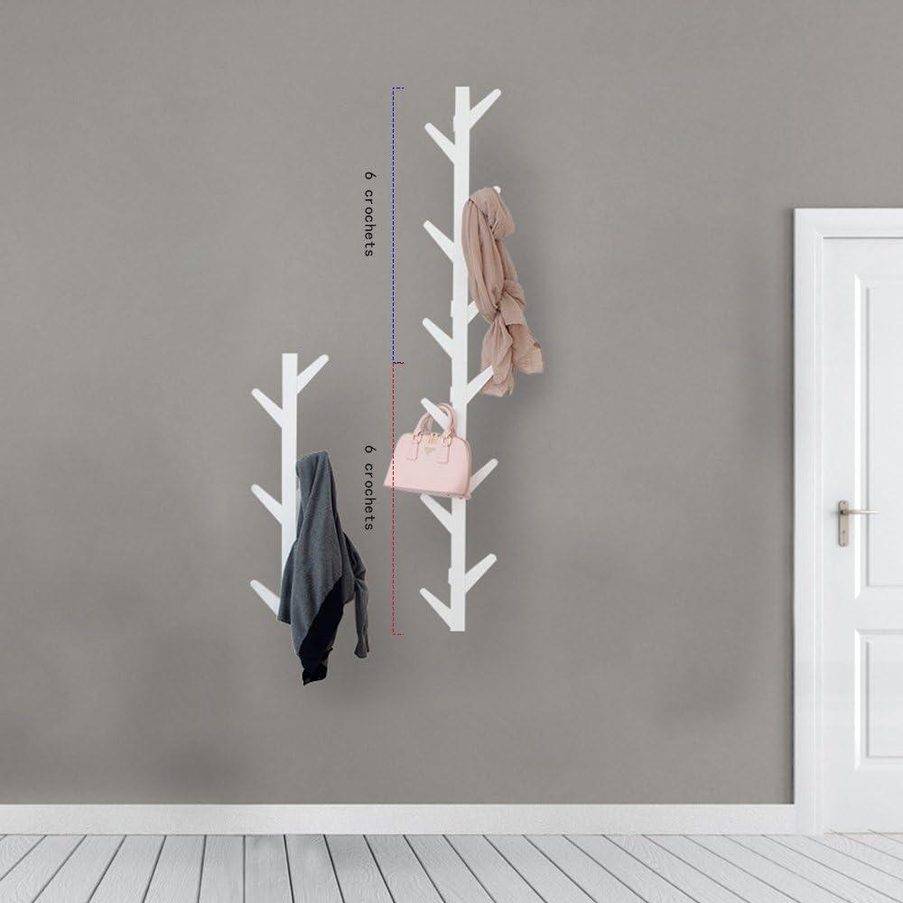 Tobaling Porte Manteau Mural Vertical en Bambou en Forme d/'Arbre avec 6 Crochets pour Entr/ée Salon Chambre Blanc