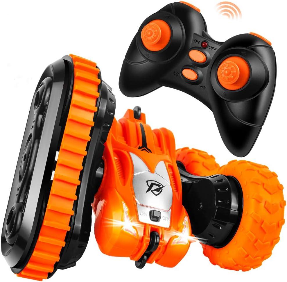 StillCool Coche Teledirigido con 2 en 1 Neumáticos, Coche de Control Remoto 2.4 GHz Gira 360° de Rotación con Acrobacias Geniales, Carga USB y Batería Recargable Regalo para Niños - Naranja