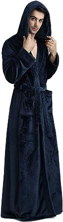 Herren Winter Flanell Fleece Morgenmantel mit Kapuze Langer Bademantel Flauschiges Nachthemd Rot Blau Handtuch Spa-Robe Weich Warm Nachtw/äsche