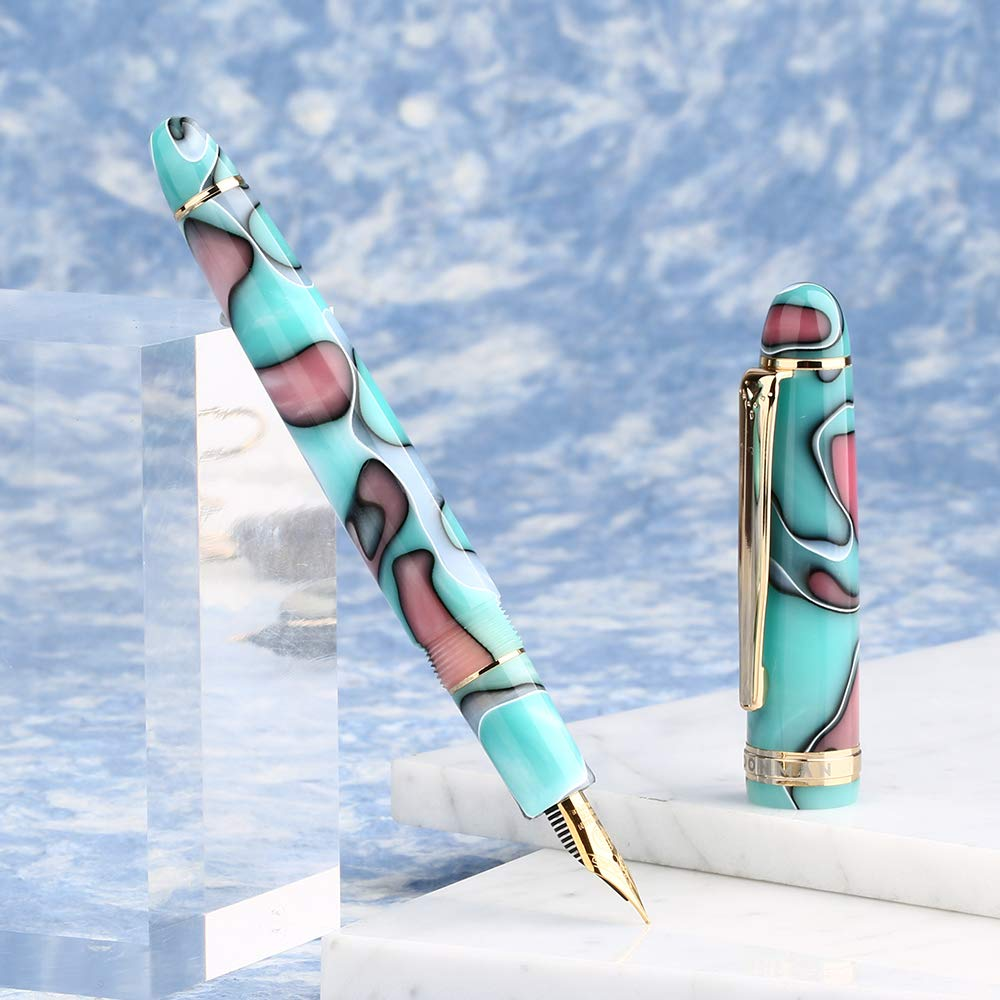 Moonman S3 Fountain Pen Blue Lake Celluloid,Iridium Fine Nib Gold Plated with Pen Pouch for Signature Handwriting
