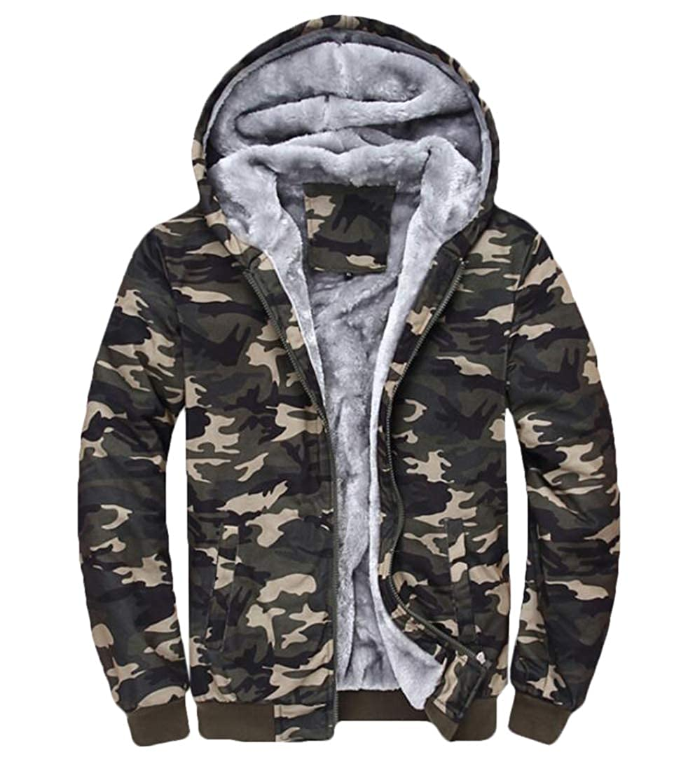 JXG Men Camouflage Fleece Hoodie Zip up Heavyweight Hooded Jacket