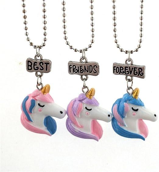 3 Pcs Resin Unicorn Necklace Best Friend Forever Girls Kids Friendship Gifts D