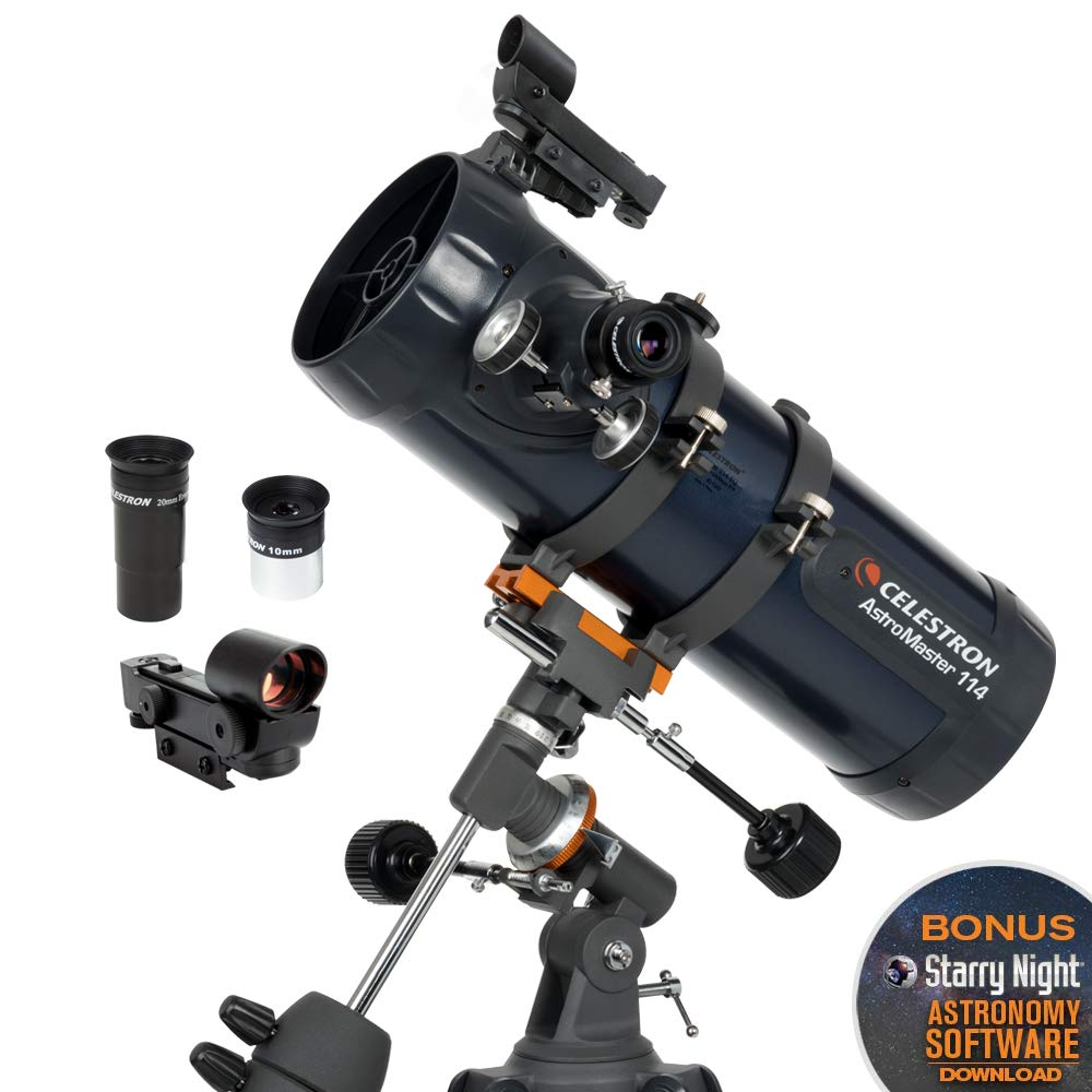 Celestron - AstroMaster 114EQ Newtonian Telescope - Reflector Telescope for Beginners - Fully-Coated Glass Optics - Adjustable-Height Tripod - BONUS Astronomy Software Package by Celestron