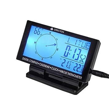 Amazon.es: SOOFO 4, 6 Pulgadas de Coche Digital Interior Exterior Termómetro 5 en 1 Brújula de Coche con Medidor de Temperatura Interior/Exterior RelojCar ...
