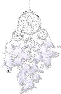 IMMIGOO Acchiappasogni Indiano Dream Catcher 5 Cerchi Originale Handmade Dreamcatcher Fatto a Mano Cattura Sogni Tradizionale Stanza Auto Parete Murale Decorazione Regalo – Bianco