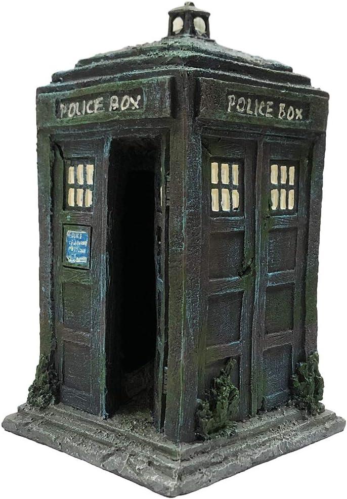 SLOCME Fish Tank Tardis Police Box Decorations - Aquarium Fish Hideout House Resin Ornament,Blue