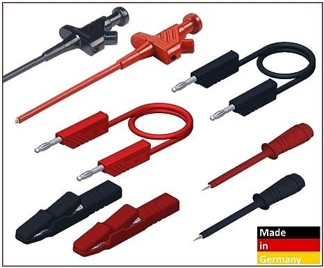 Hirschmann PMS 4 Jeu de c/âbles de s/écurit/é avec Pointes de Test Noir//Rouge 4 mm