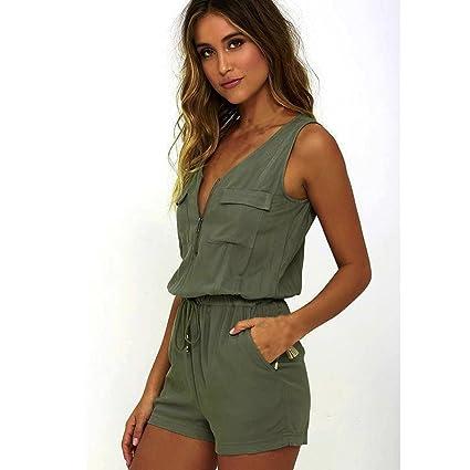 faaef6024cf Image Unavailable. Image not available for. Color  Hemlock Women Zipper  Vest Tops Jumpsuit Romper Shorts Pants ...