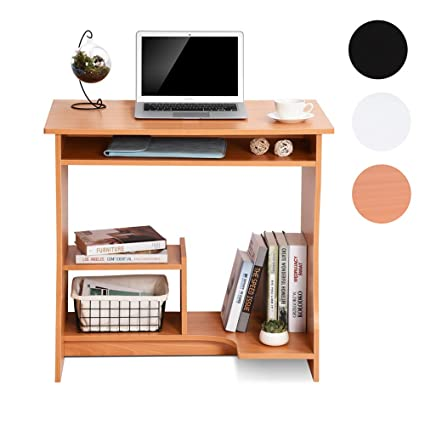Incredible Ej Life Computer Desk Home Office Desk For Small Spaces Sturdy Study Workstation With Shelves Beech Download Free Architecture Designs Estepponolmadebymaigaardcom