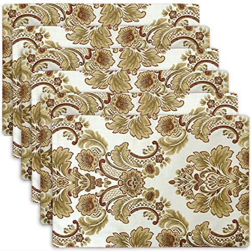 Grelucgo Luxury Damask Table Placemats (12x18 inch) Set of 6 (Placemets)