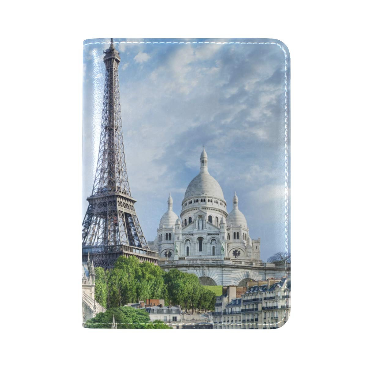 Paris Cities Eiffel Tower France Houses One Pocket Leather Passport Holder Cover Case Protector for Men Women Travel