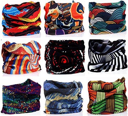 Kingree 9PCS Headbands, Outdoor Multifunctional Headwear, Sports Magic Scarf, High Elastic Headband with UV Resistance, Athletic Headwrap, Mens Sweatband, Womens Hairband (Wave)