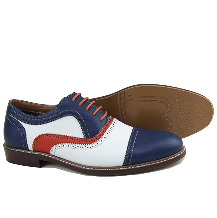 1960s Mens Shoes- Retro, Mod, Vintage Inspired  Blue Red White Perforated Lace Up Dress Classic Oxford Shoes  AT vintagedancer.com