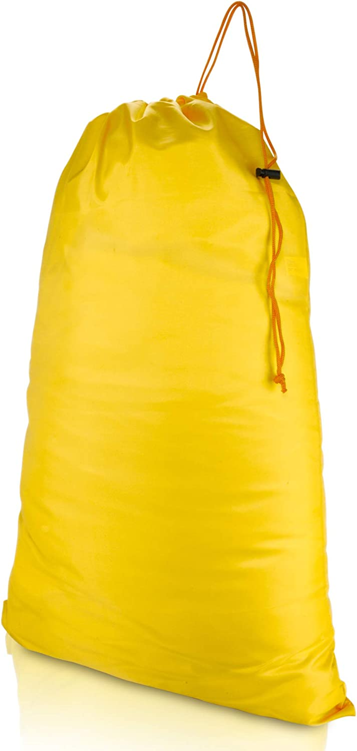 DALIX Large Laundry Bag Drawstring Sack Heavy Duty Tear Resistant in Yellow