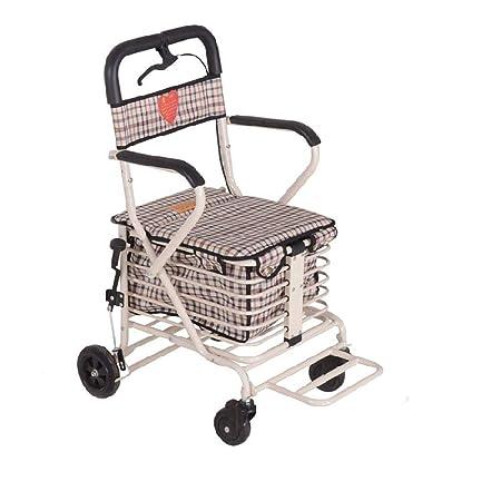 FKYTH Andador Plegable con Pedal Canasta de Compras Asiento ...