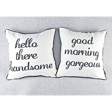 Set of 2 Mr and Mrs Home Decor Black White Husband Wife Throw Pillow Cover Cushion Case - 18  X18