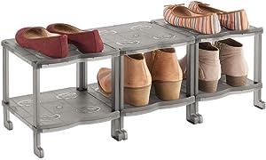 mDesign Plastic Shoe Rack Holder & Organizer - 6 Storage Shelf for Closet, Entryway, Mudroom, Garage, Kids Playroom - Easy Assembly - Closet Organization - Smoke Gray