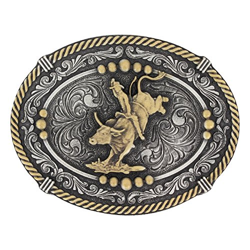 Bull Rider Buckle (Montana Silversmiths Classic Impressions Two Tone Beaded Cameo Attitude Buckle with Bull Rider)
