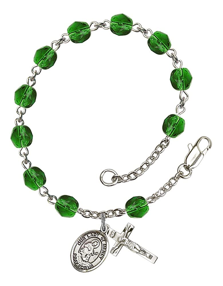 The charm features a O//L of Mercy medal Silver Plate Rosary Bracelet features 6mm Emerald Fire Polished beads The Crucifix measures 5//8 x 1//4 Patron Saint Barcelona Spain