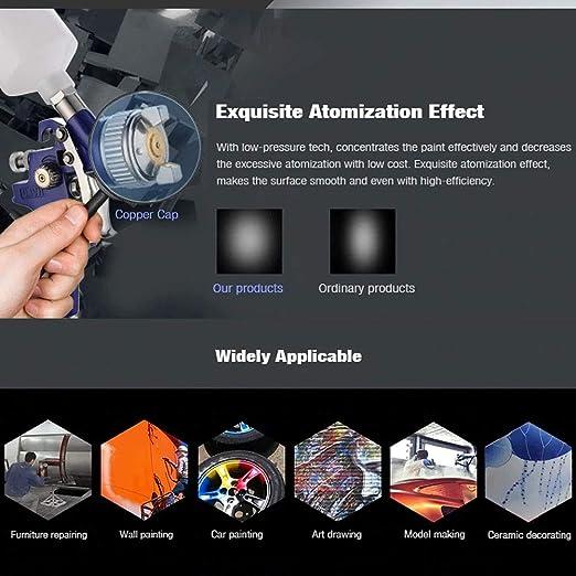 Pistola a Spruzzo Pistola spray per vernice HVLP da 0.8 mm ugelli Pistola Spray per Verniciare con Contenitore 120 ml Aerografo Alimentazione a