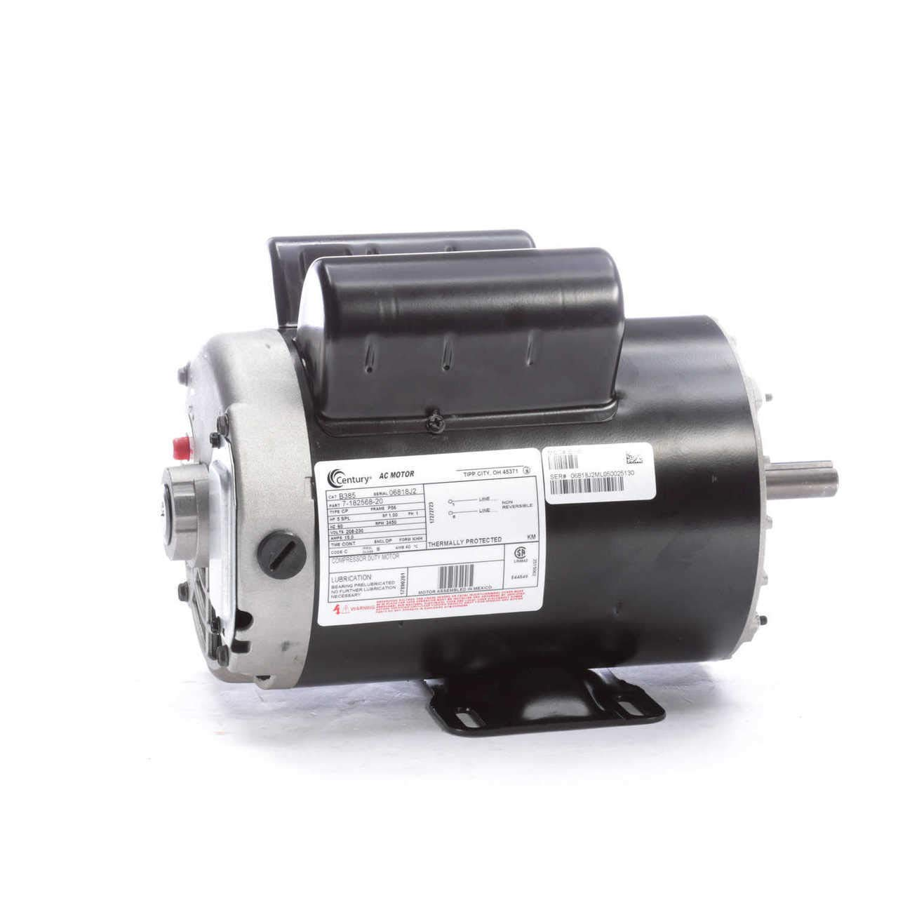 5 HP SPL 3450rpm P56 Frame 230 Volts Replacement Air Compressor Motor Ge Single Phase Air Compressor Motor Wiring Diagram on