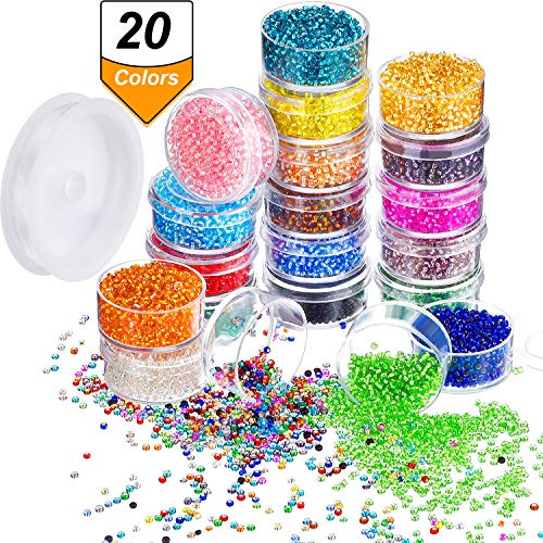 Bememo 16000 Pieces Glass Seed Beads 20 Colors 2 mm Silver Lined Pony Beads Tiny Spacer Beads in Container Box with 18 m Elastic Crystal String (Seed Bead Ornaments)