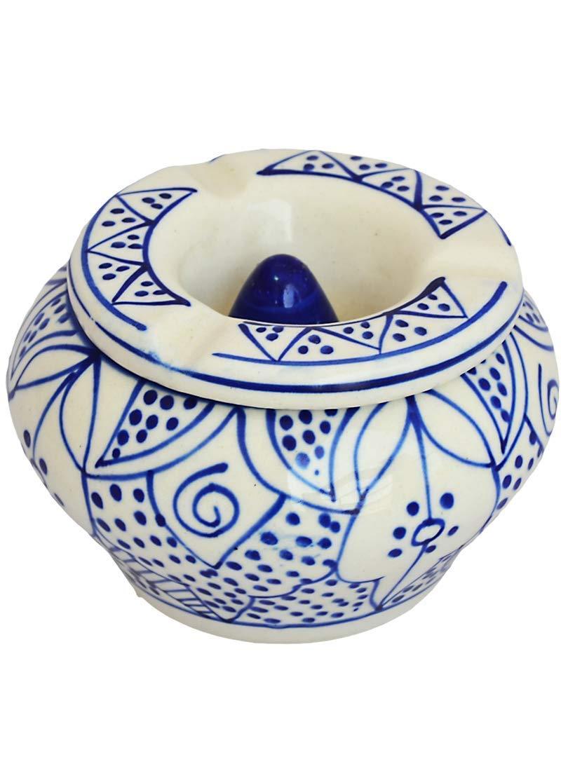 Etroves モロッコ灰皿の蓋 4インチ 手描きセラミック灰皿/灰キャッチャー 屋外屋内 屋内 3つのシガレットホルダースロット 喫煙用灰皿  Moroccan Ashtray 02 B07JQ8679D