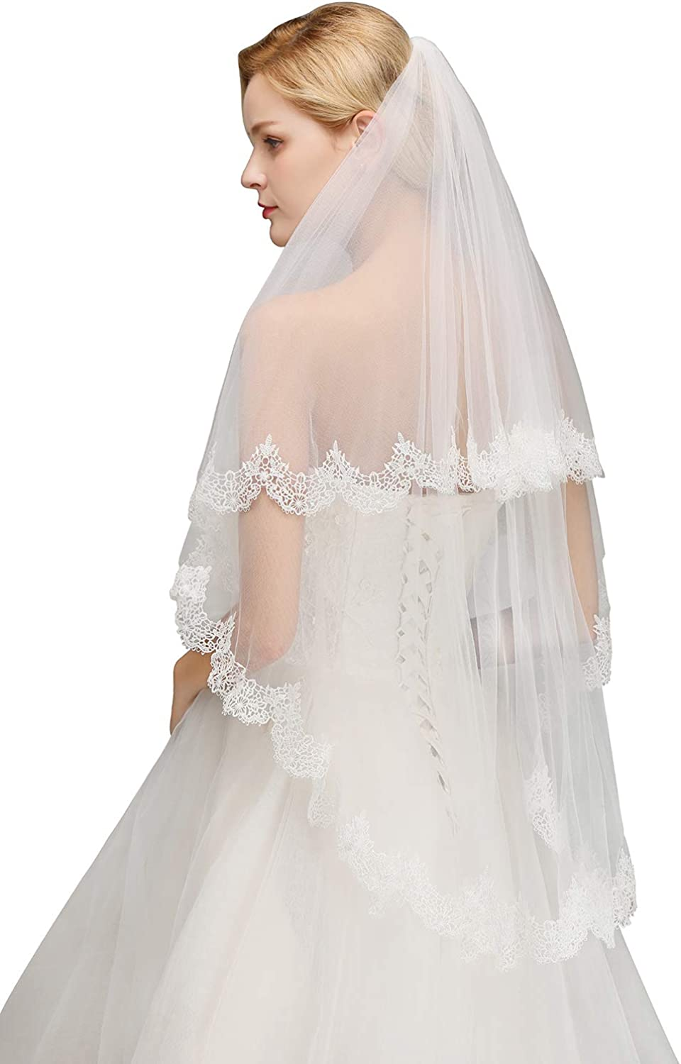 Women's Short Wedding Bridal Veil 2 Tier Tulle Sheer Lace with Comb