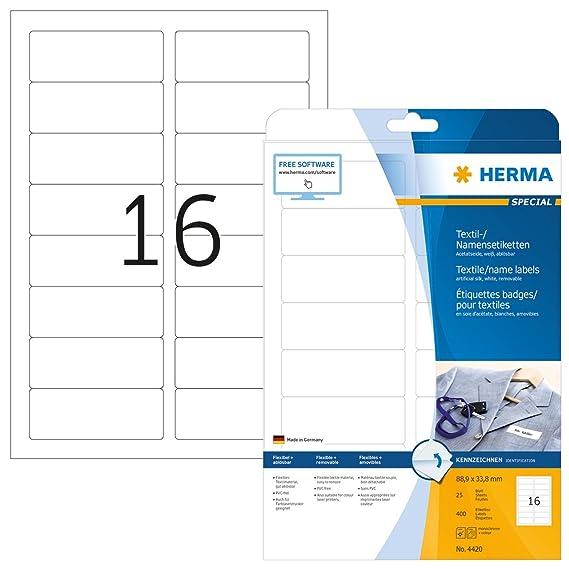 Herma 4420 Namensetiketten ablösbar (88,9 x 33,8 mm) weiß, 400 ...