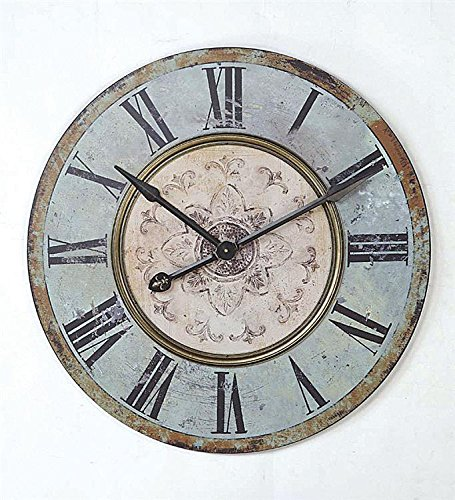 Round Wood Wall Clock Distressed Blue Finish Country Home D