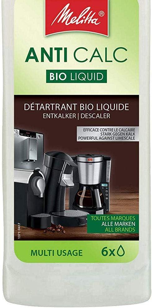 Melitta Descalcificador Bio Multi, Limpiador Express, Automáticas, Cafeteras de Goteo, Líquido Biodegradable, 6 Usos, 250 mililítros, 0.25 litros: Amazon.es: Hogar