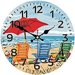 MEISTAR Cute Cartoon Style Wall Clock for Kids Room,Children Room and Kitchen,Wooden 14 Inch Seaside Design Battery Wall Clock for Living Room,Bedroom