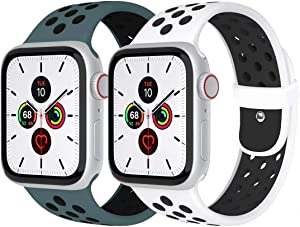 Zsuoop Sport Watch Band Compatible with Apple Watch Bands 38mm 40mm 42mm 44mm,Soft Silicone Wristband for Apple Watch Series 6/SE/5/4/3/2/1,2pack,White&Black/Celestial Teal&Black-38S