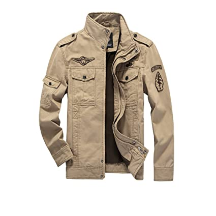 Mens Military Cotton Jacket - Solid Colored Stand Collar Large Size Coats Casual Comfortable Classic Outerwear