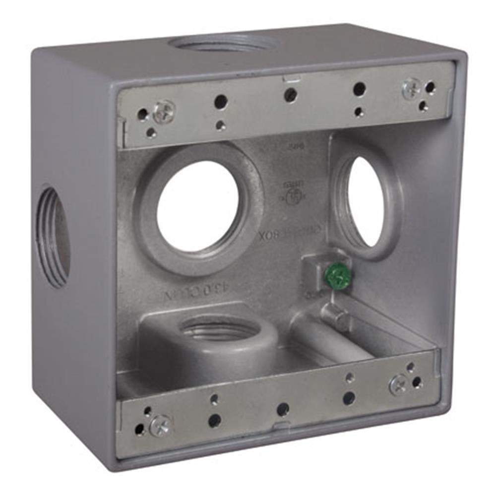 Taymac DD5100XS 4-1/2-Inch X 4-1/2-Inch Gang Weatherproof Box, 1-Inch Outlets, Side Lug, Gray