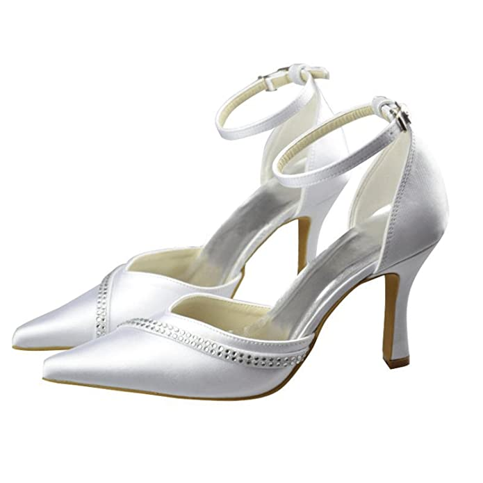 Kevin Fashion MZ1261 Ladies Pointed Toe Ivory Lacw Bridal Wedding Formal Party Evening Prom Pumps Shoes 10 UK KxWuq12p