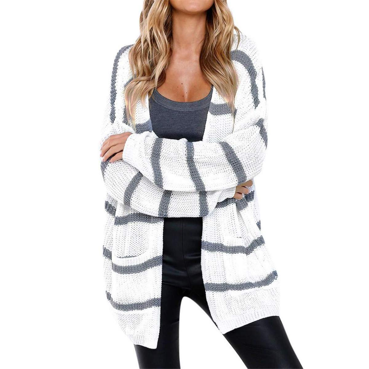 KESEELY Women Lightweight Cardigans Long Sleeve Striped Open Front Jumper Sweaters with Pocket Knitting Tops KESEE Clothes KESEELY_Coat