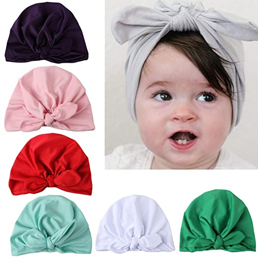 8d8e12045 7pcs Baby Girl Hats Turban Knotted Headbands Head Wrap For Newborn Toddler  Kid