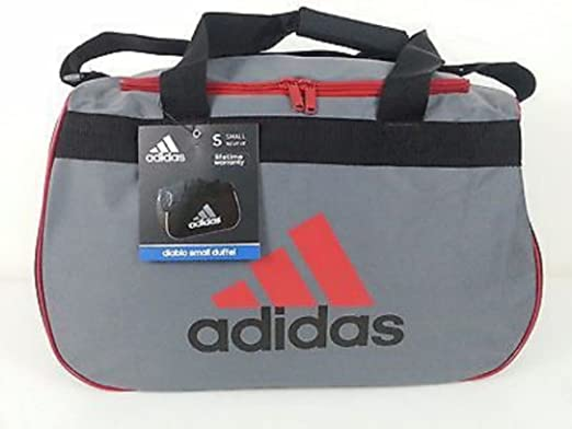 f55d433cb234 Amazon.com  adidas Diablo II Gear Up Small Gym Travel All Sports Gear  Duffle Bag (Lead Grey University Red Classic Black)  Sports   Outdoors
