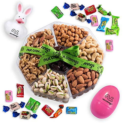 Tray Gift Easter - Easter Gourmet Nuts Gift Baskets with Fun Easter Bunny, Easter Egg with Easter Candy | Large 7-Sectional Delicious Variety Mixed Nuts Prime Gift | Healthy Fresh Gift Idea By Nut Cravings