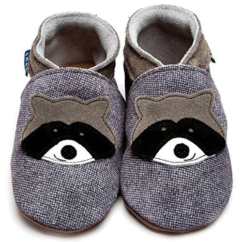 Inch Blue Mädchen/Jungen Schuhe für den Kinderwagen aus luxuriösem Leder - Weiche Sohle - Waschbär Dunkles Jeansblau