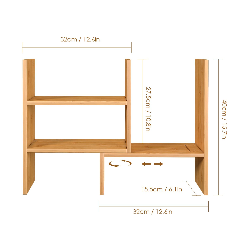 homfa bamboo desk storage organizer adjustable desktop display shelf rh amazon com au