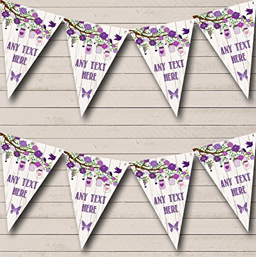 Shabby Chic Vintage Wood Purple Personalized Retirement Party Bunting Banner by The Card Zoo (Image #1)